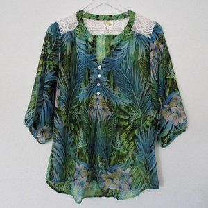 Anthropologie Fig and Flower Green Floral Blouse